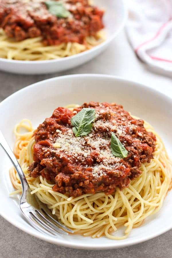 two plates of The Best Spaghetti and Meat Sauce