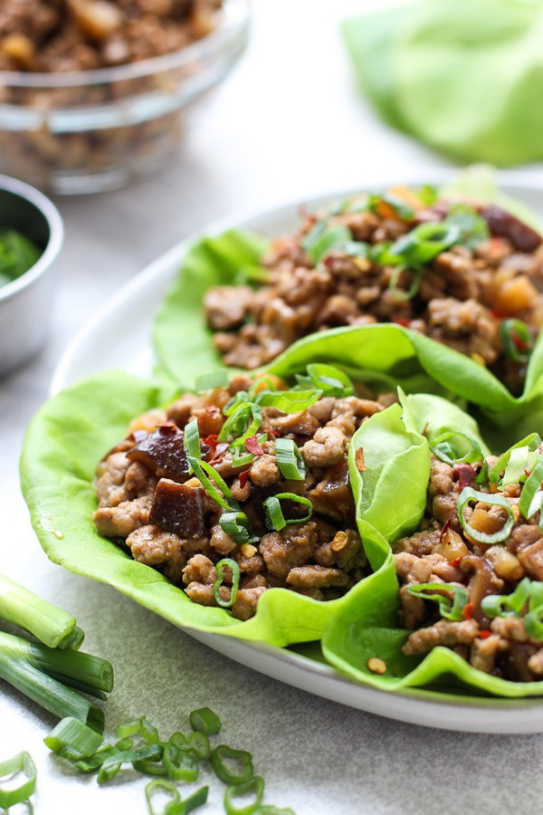 Closeup of Asian Lettuce Wraps