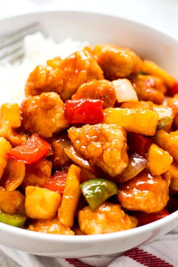 Closeup of a Sweet and Sour Chicken