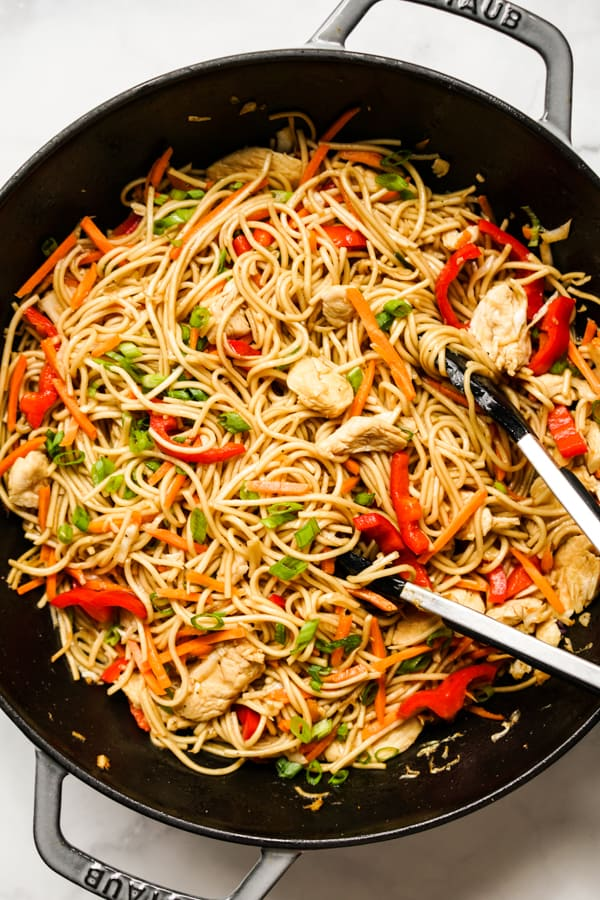 Chicken Lo Mein in a large non-stick skillet