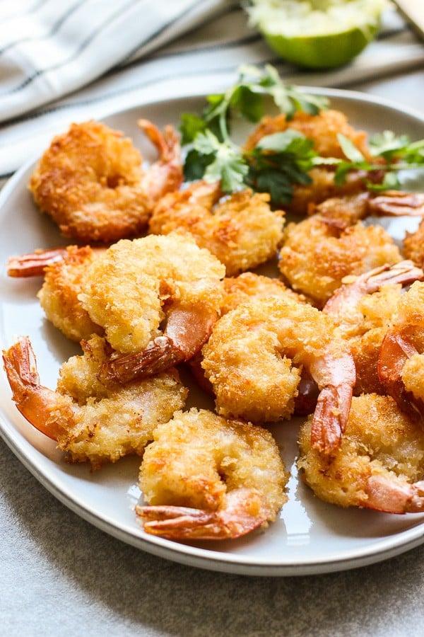 A plate of crispy fried panko shrimp