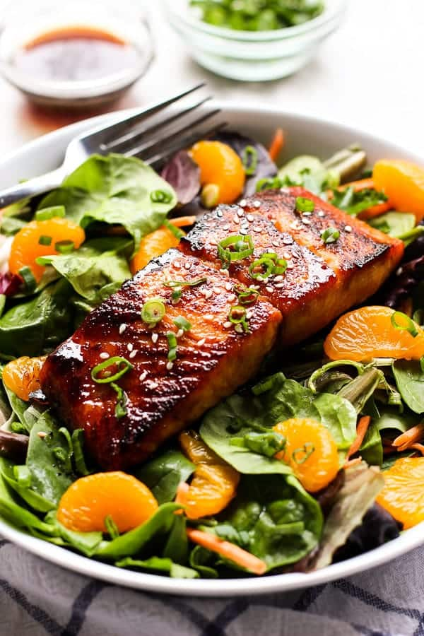 Asian Salmon Salad with a fork and dressing on the side
