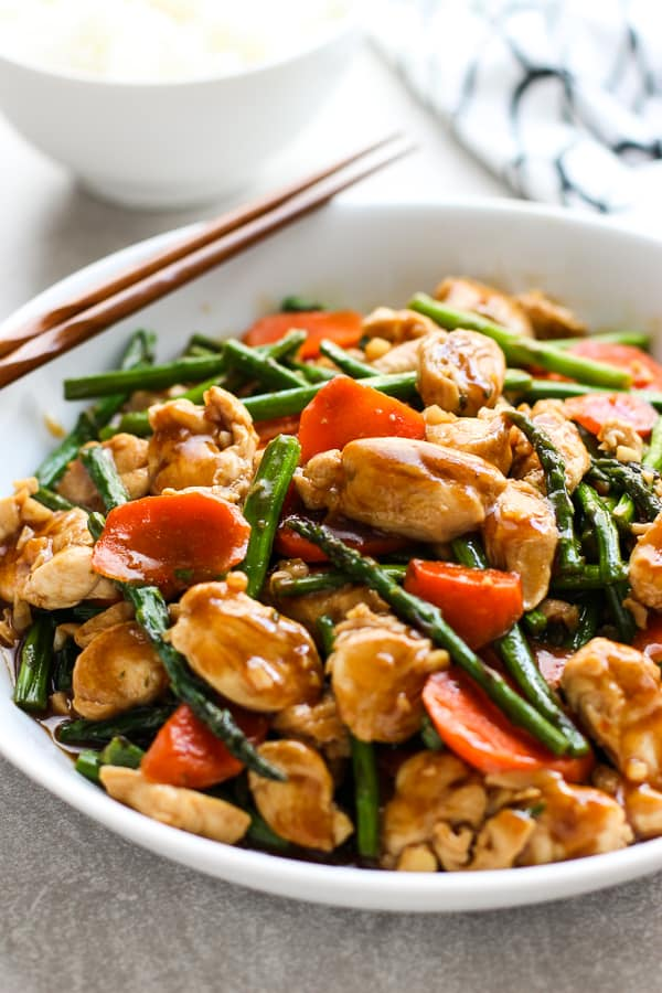 A bowl of Chicken and Asparagus Stir Fry