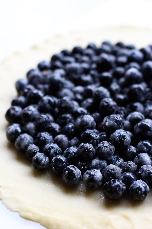 making galette with fresh blueberries