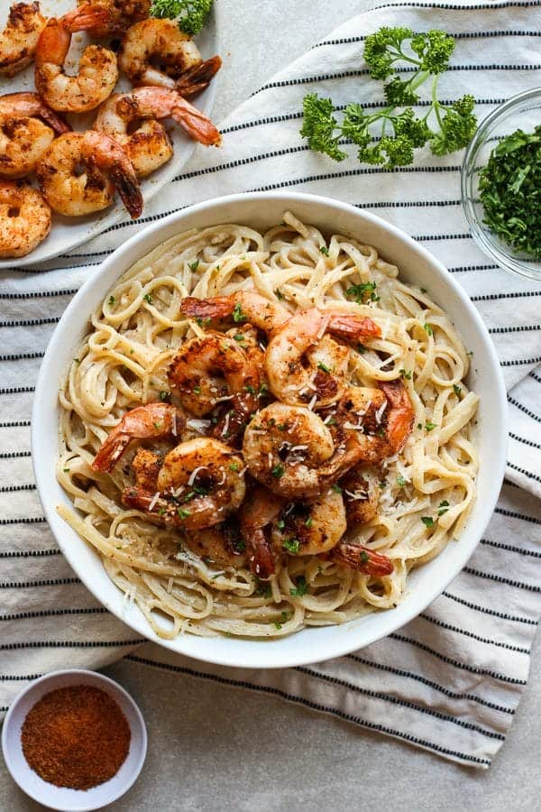 Top down view of a bowl of Blackened Shrimp Pasta