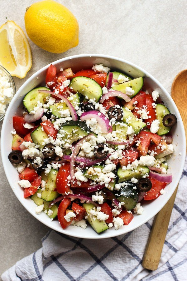Top down photograph of Greek Cucumber Salad