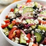 Greek Cucumber Salad in a large bowl