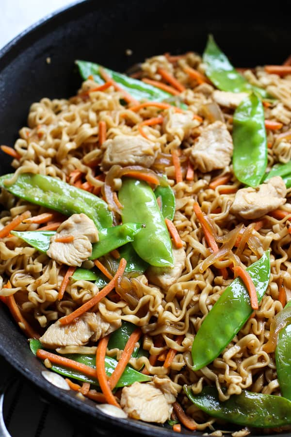 Ramen noodles in a skillet