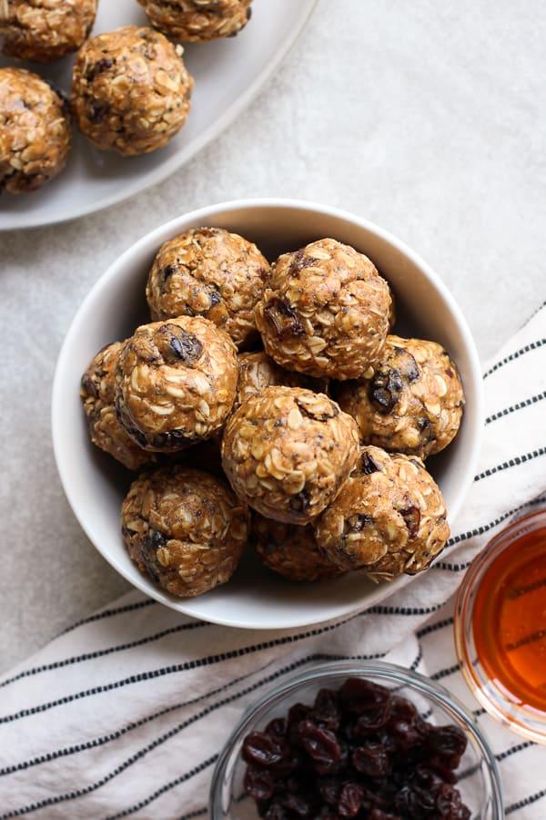 A bowl of Almond Butter Energy Balls