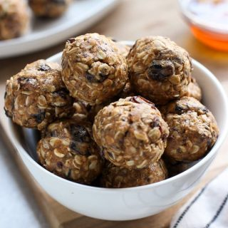 A bowl fo No Bake Almond Butter Energy Balls