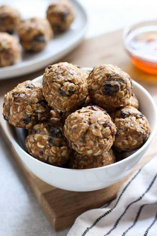 A bowl fo No Bake Almond Butter Energy Balls