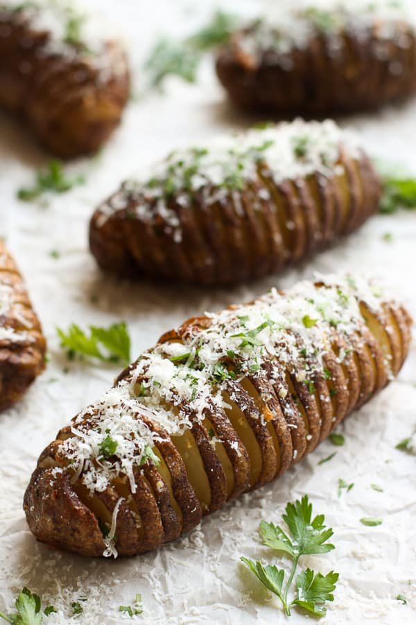 A few Garlic Parmesan Hasselback Potatoes