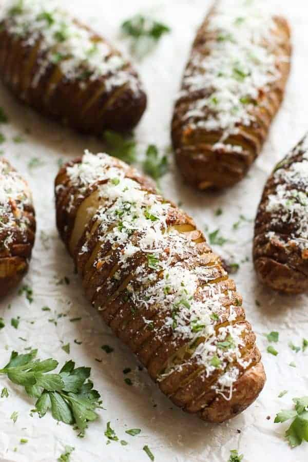 Closeup of Garlic Parmesan Hasselback Potatoes