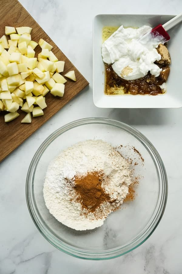 Apples, dry ingredients and wet ingredients