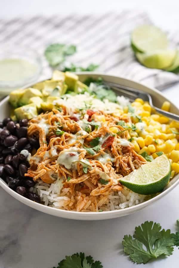 A bowl of Slow Cooker Chicken Burrito Bowl