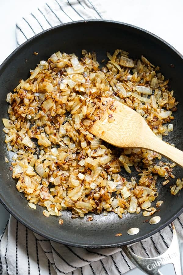 Caramelizing onions in a non stick skillet