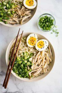 Two bowls of Instant Pot Ramen Noodles