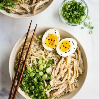 Two bowls of Instant Pot Ramen Noodles