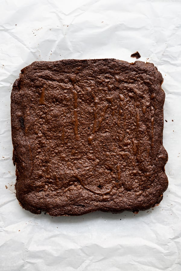 Brownies on parchment paper