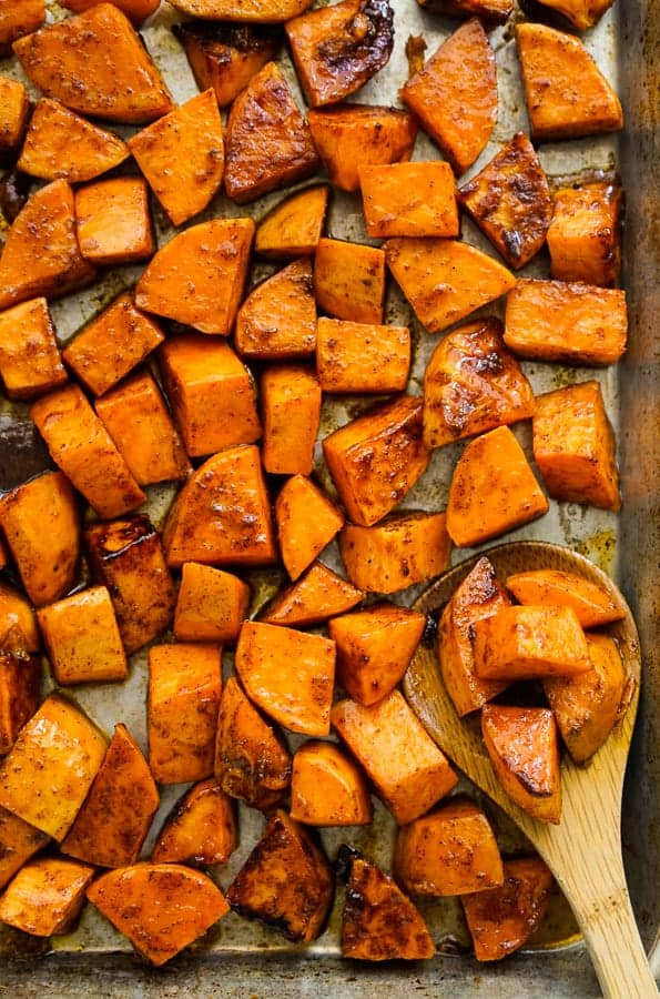 Sweet potatoes on sheet pan after baking
