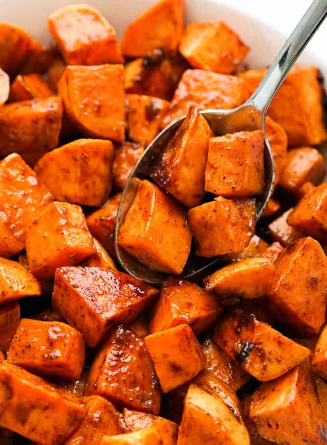Close up view of Spicy Roasted Sweet Potatoes