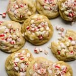 Lots of White Chocolate Peppermint Cookies on the counter