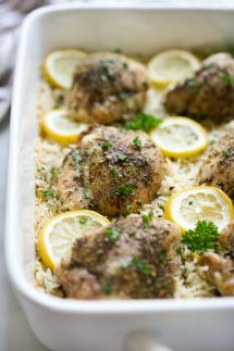 One Pan Baked Lemon Chicken and Rice in a rectangular casserole dish