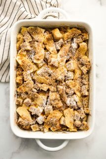Baked Apple French Toast Casserole in a rectangular dish