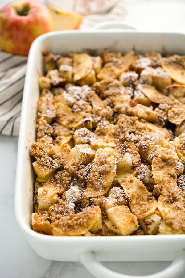 Apple French Toast Casserole in a rectangular casserole dish