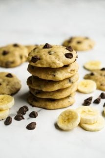 A stack of Banana Chocolate Chip Cookies