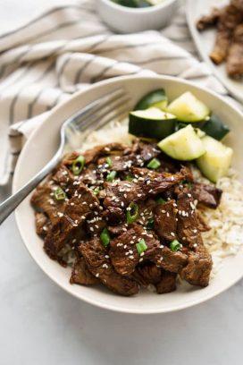 A bowl of beef bulgogi with fork