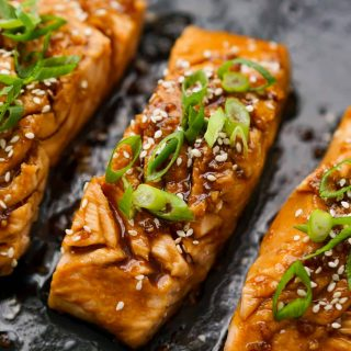 Close up of Teriyaki Glazed Salmon on skillet