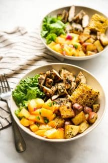 Two Grilled Chicken and Potato Summer Bowls