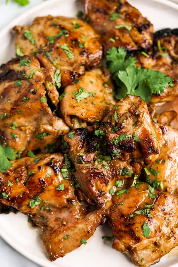 Closeup of Thai grilled chicken thighs