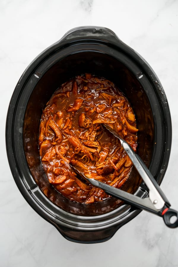 shredded BBQ chicken in the slow cooker