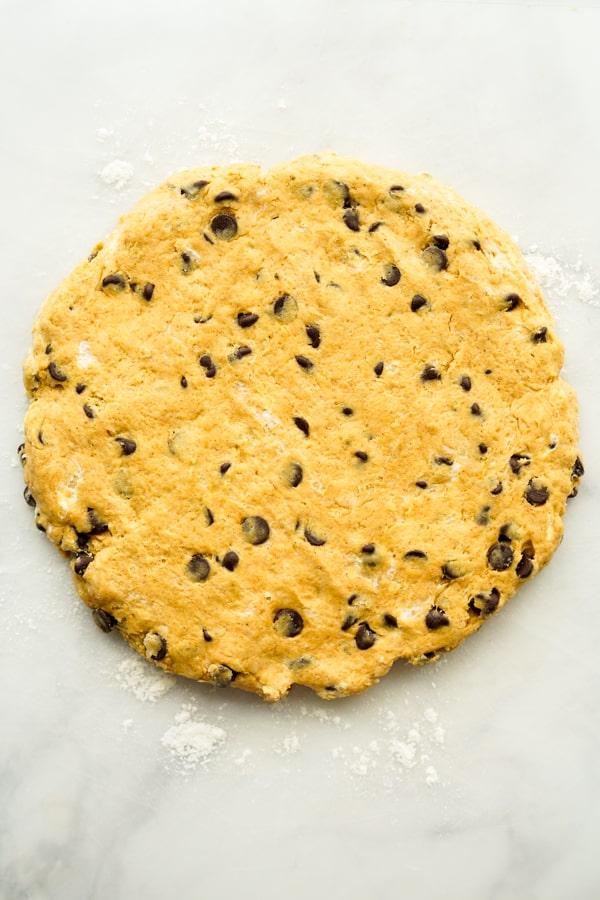 Flattened scones dough