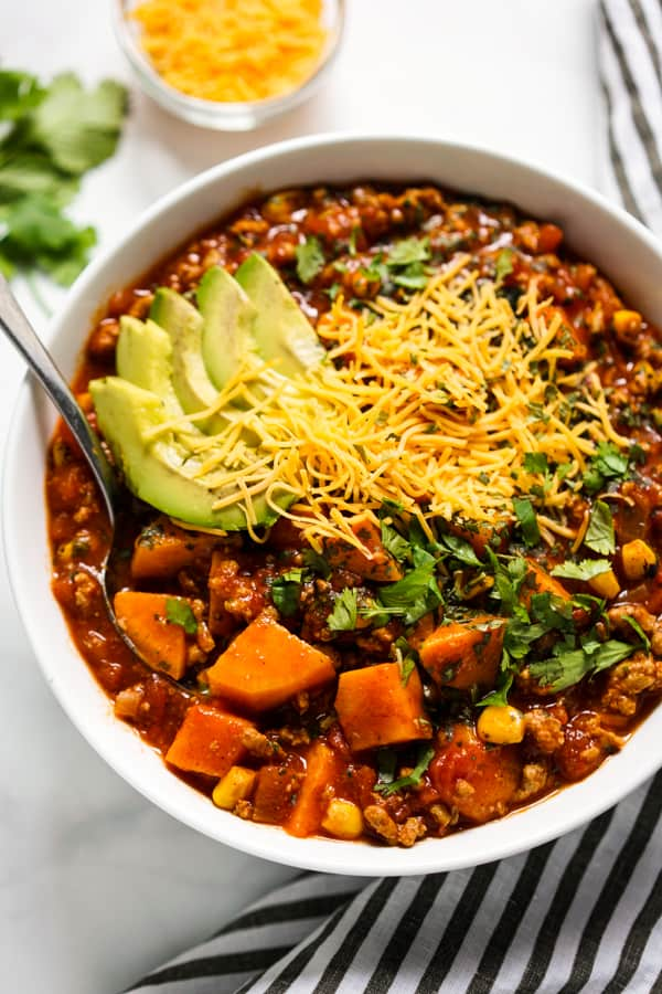 Close up of turkey sweet potato chili with no beans
