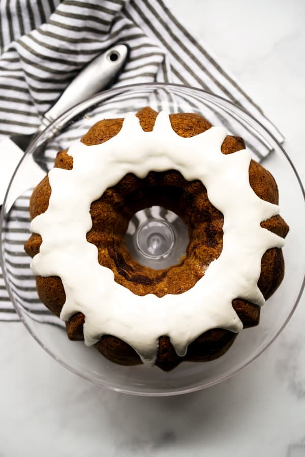 Top down view of Cinnamon Bundt Cake with Cream Cheese Icing