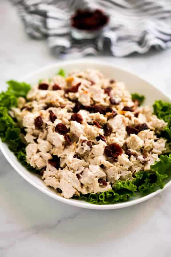 A plate of turkey salad tossed in mayo and cranberries