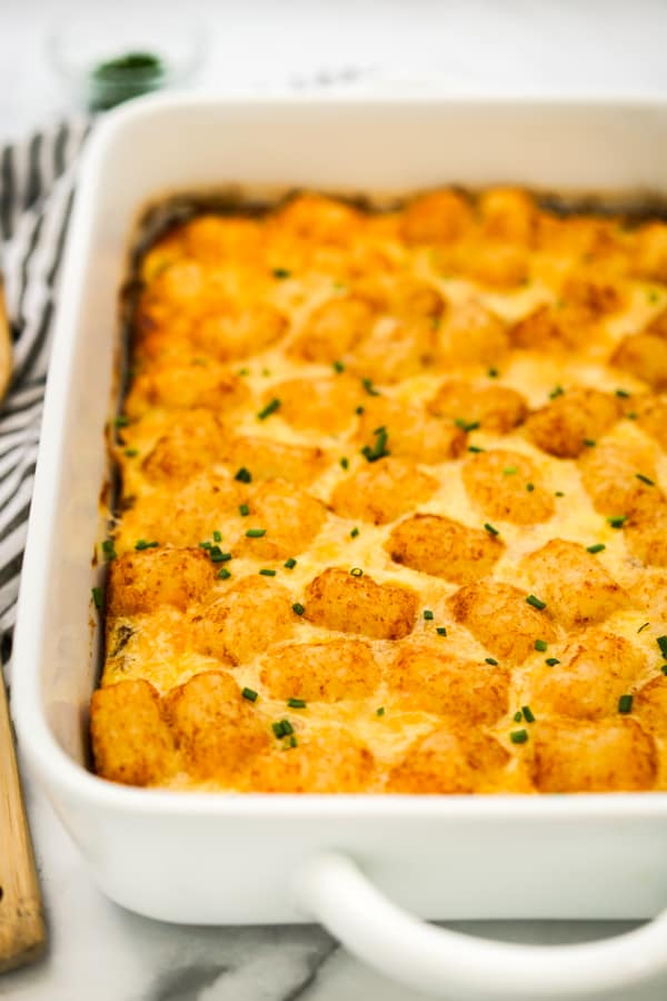 Breakfast casserole with tater tots on top