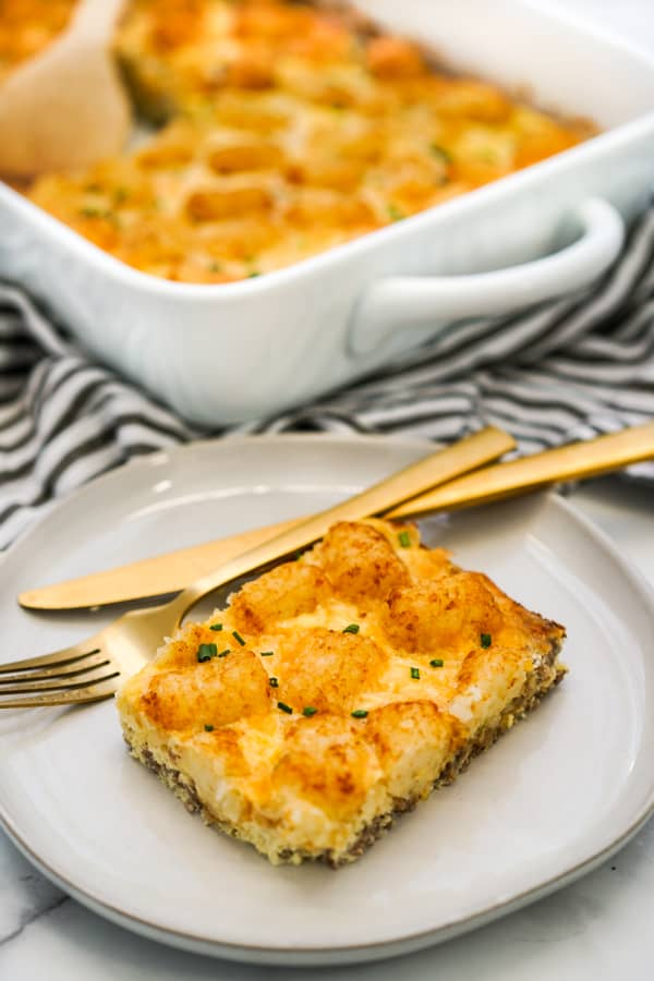 A serving of sausage tater tot breakfast casserole