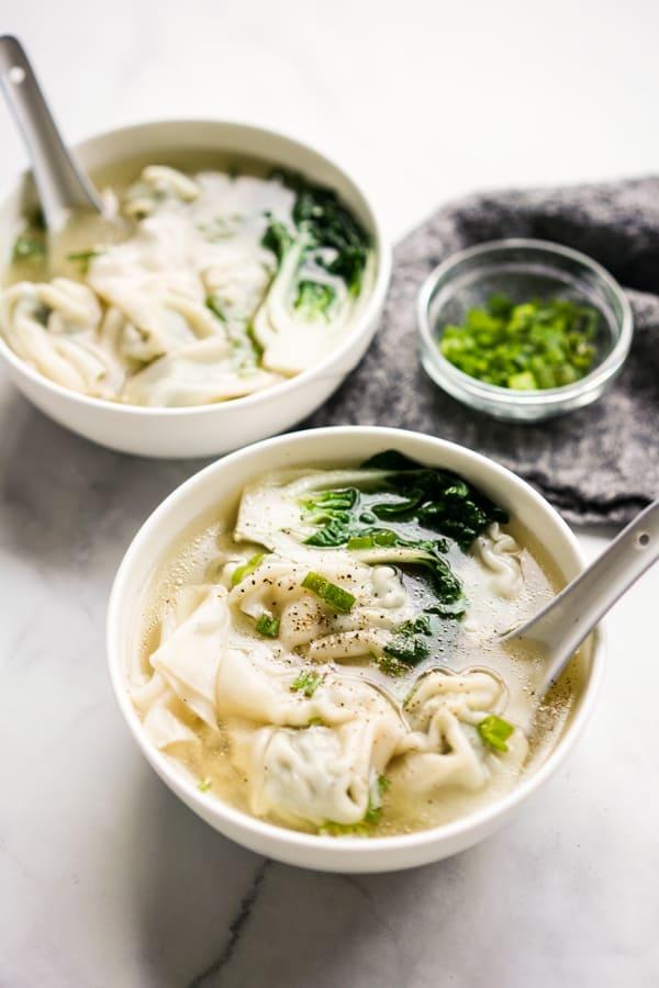 Two bowls of Instant Pot Wonton Soup