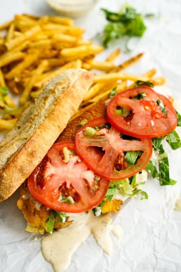 Open face Fish Po' Boy sandwich