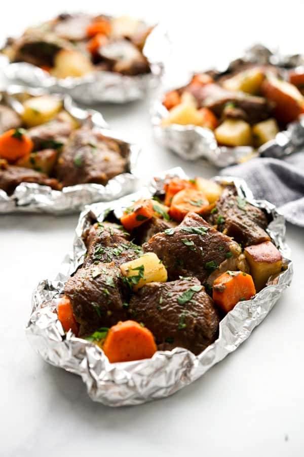 Packets of Cajun Steak and Potato and Carrots Foil Packs