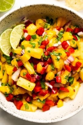 A bowl of Fresh Pineapple Mango Salsa