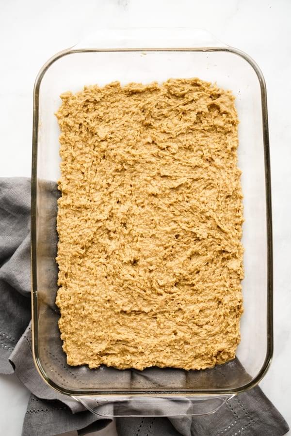 Graham cracker crust in rectangular dish