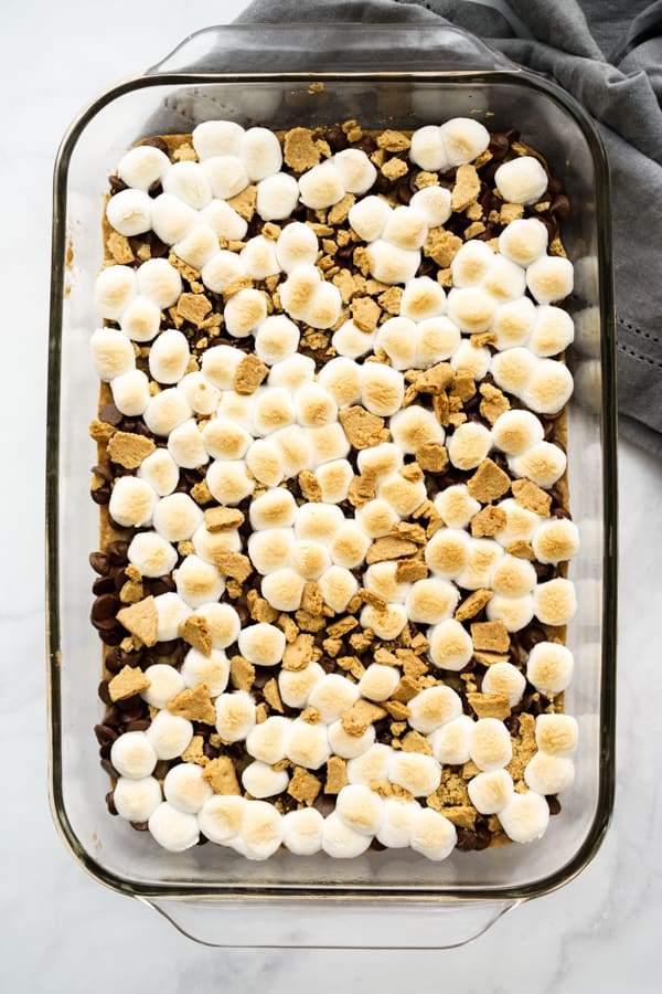 Baked S'mores Bars in baking dish