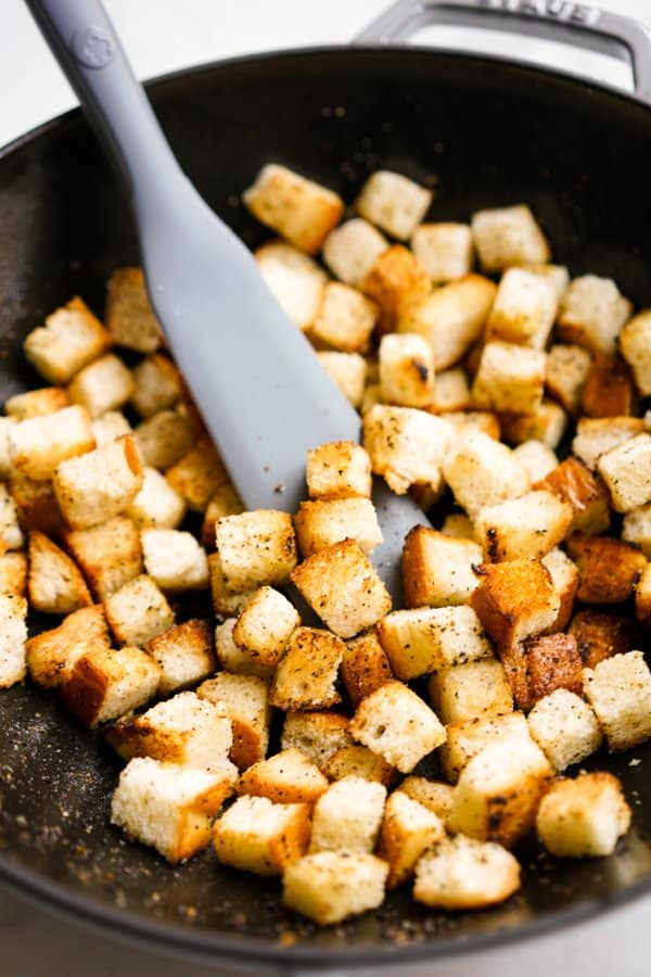Toasting bread in the skillet