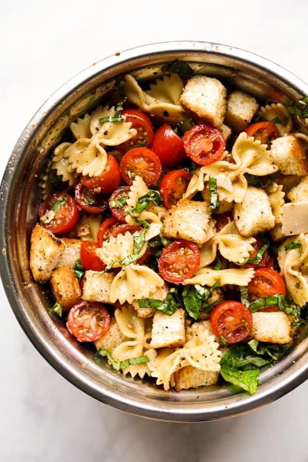 A bowl of Bruschetta Pasta Salad