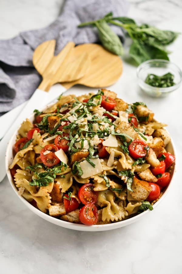 A big bowl of Bruschetta Pasta Salad